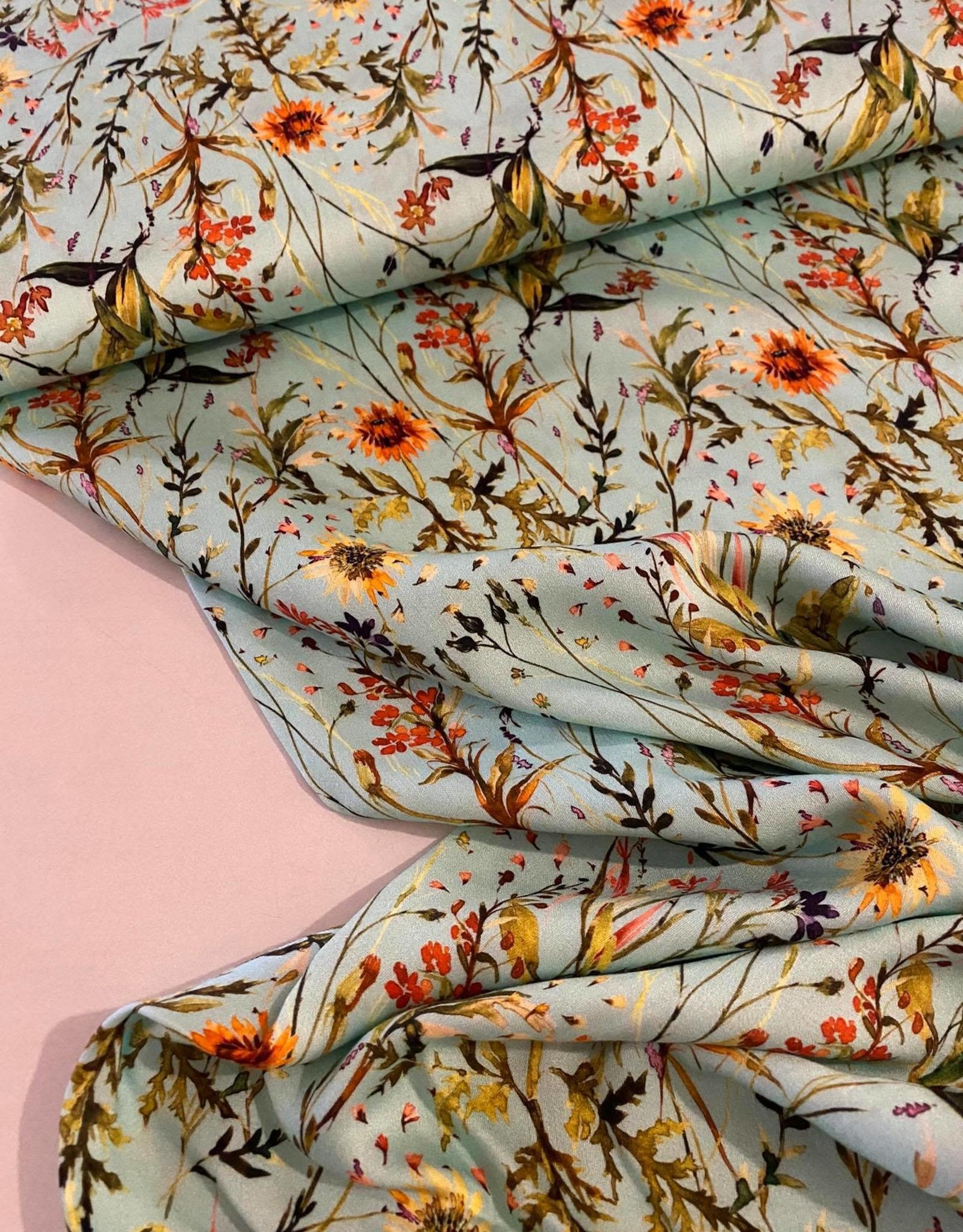 Viscose - Sunny Flowers Mint