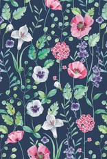 French Terry - Flowergarden Blue