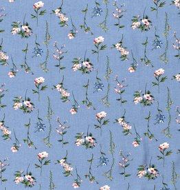 Viscose Tricot - Floral Petite Blue
