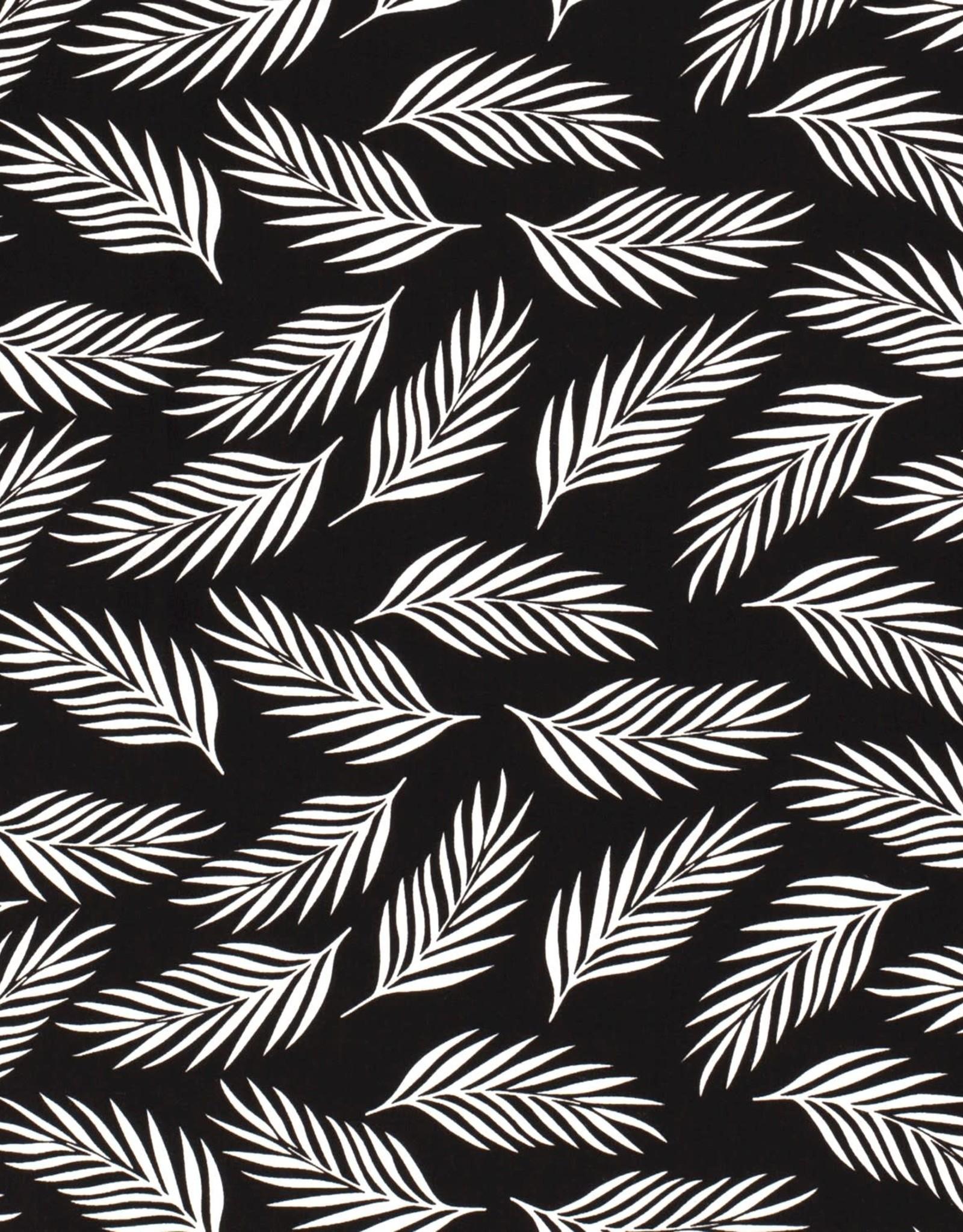 Viscose - White Leaves