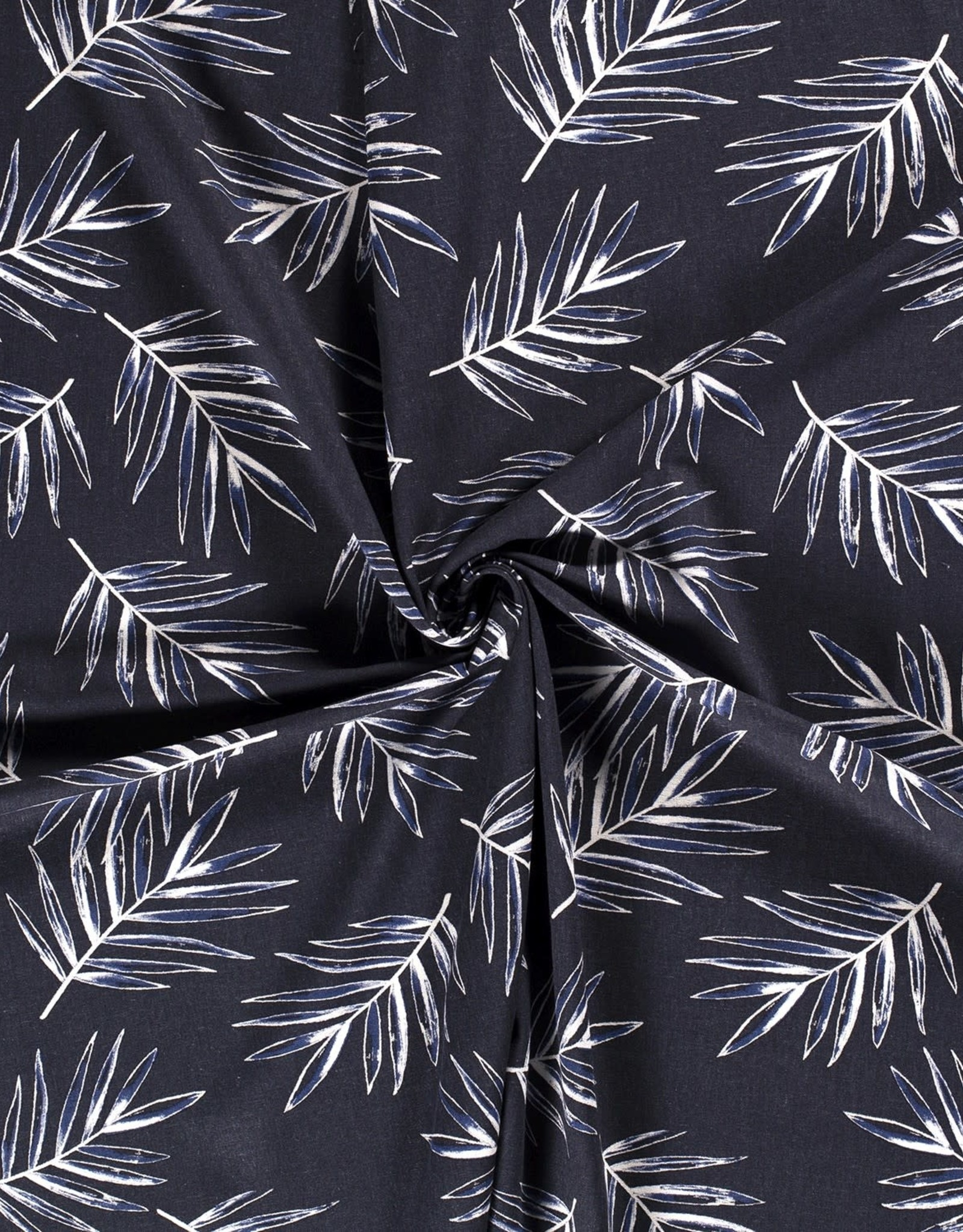 Viscose-linnen - Bladeren Marineblauw
