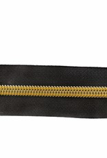 Rits op rol (incl. 1 trekker) - Zwart/Geel- Size 7
