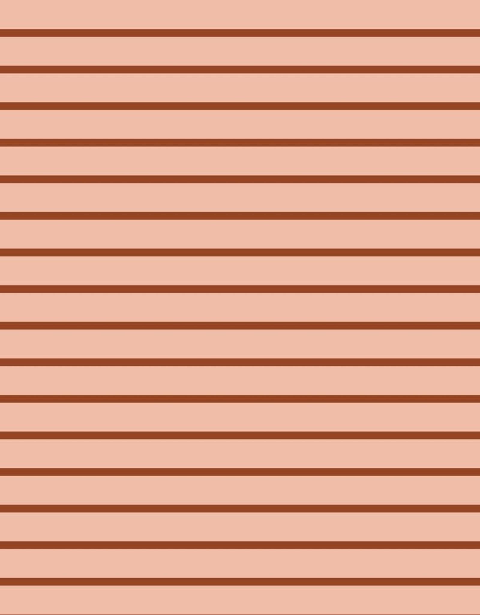 French Terry Striped - Powder/Brique