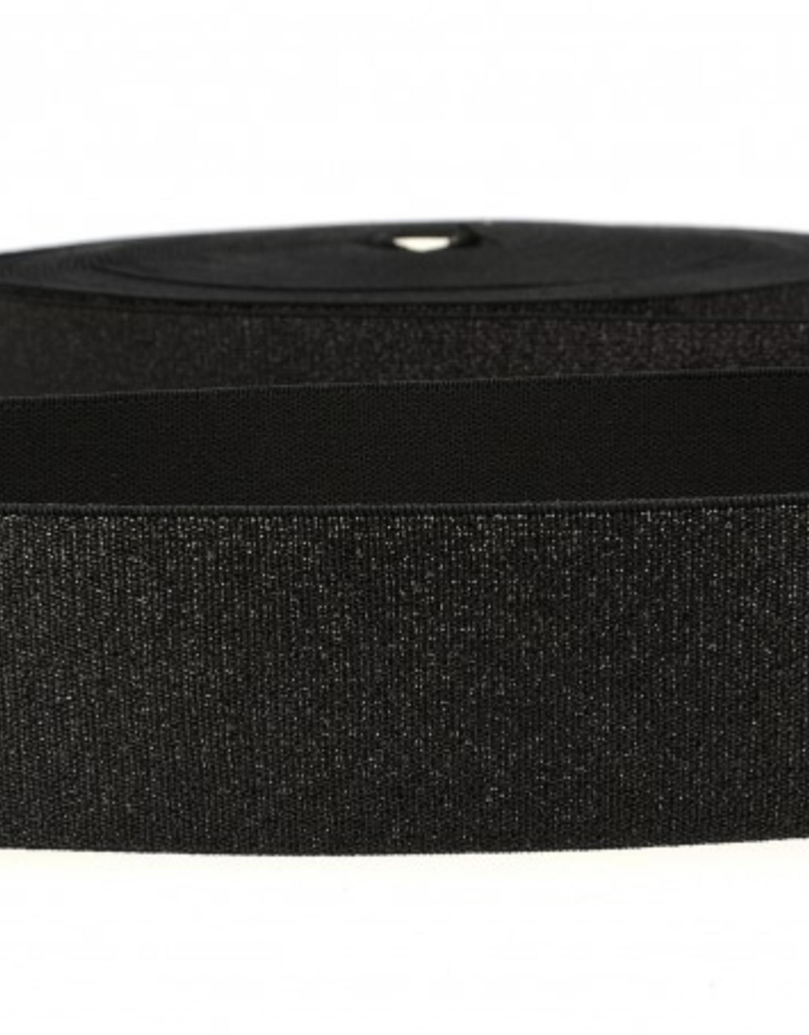 Glitterelastiek  Soft 40mm - Zwart