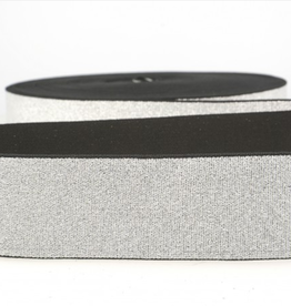 Glitterelastiek  Soft 40mm - Zilver