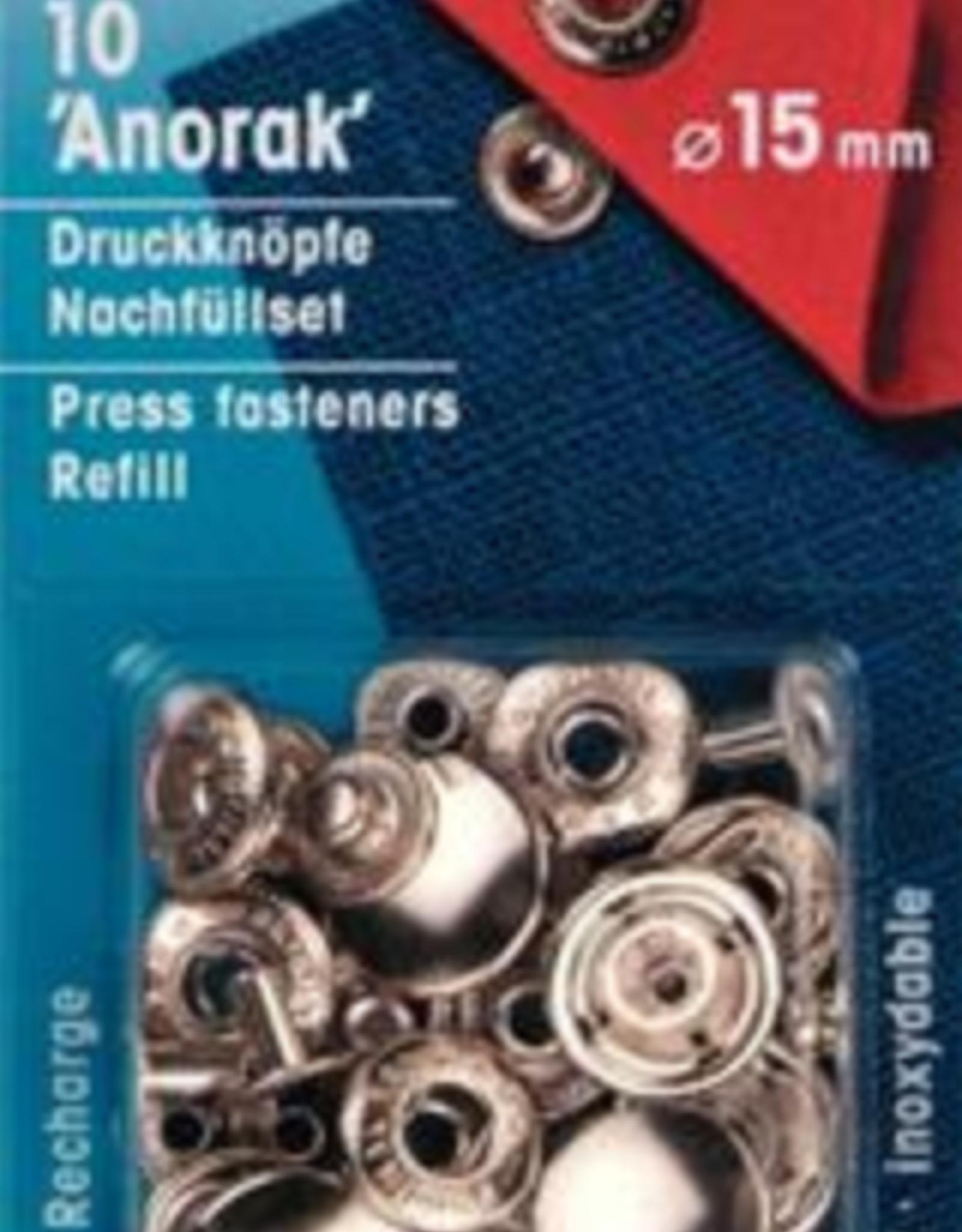 Prym Prym 390.321 - Navulling Anorak drukknopen - 15mm - Zilver