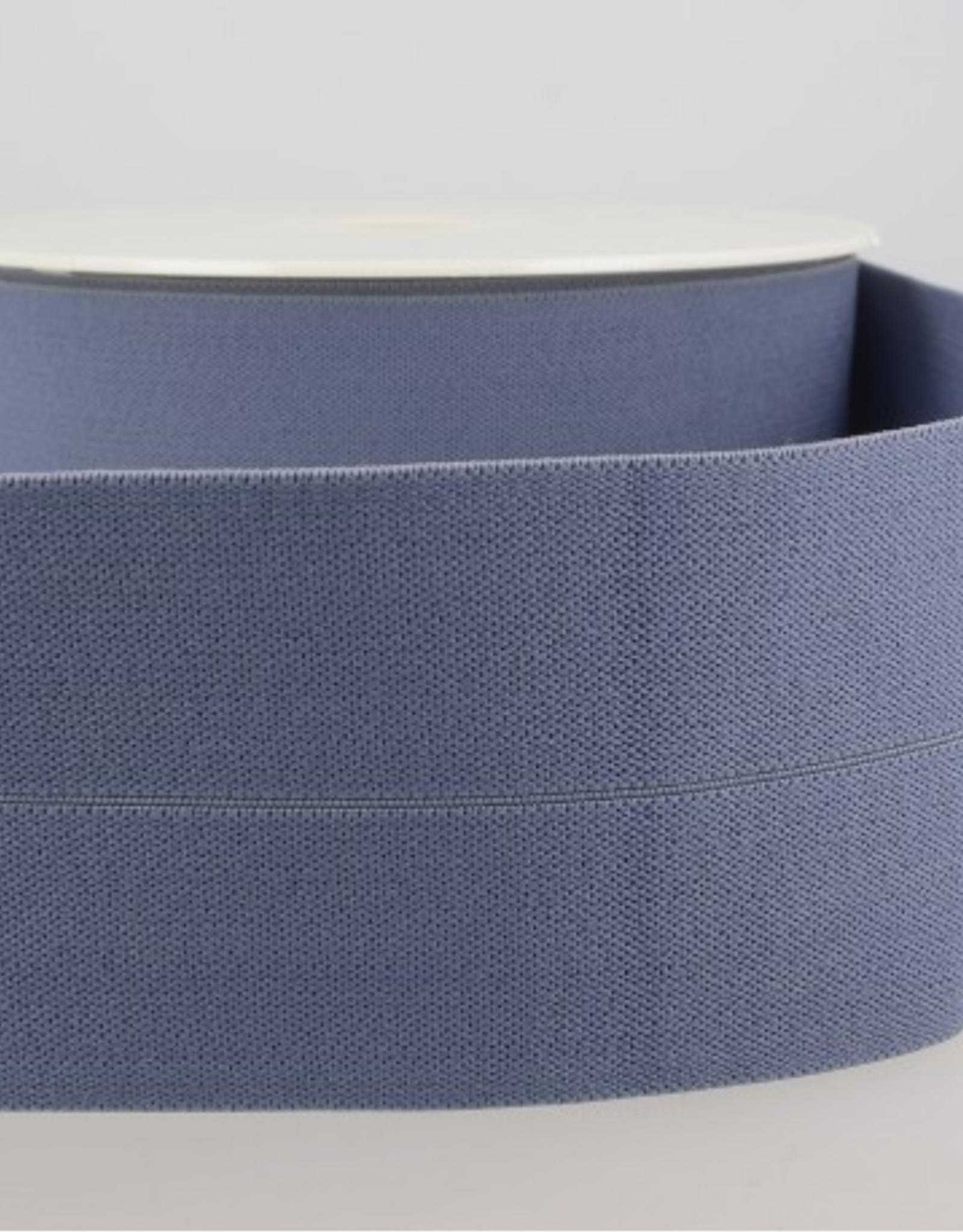 Elastiek 30mm (60mm ) - Voorgevouwen - Jeansblauw
