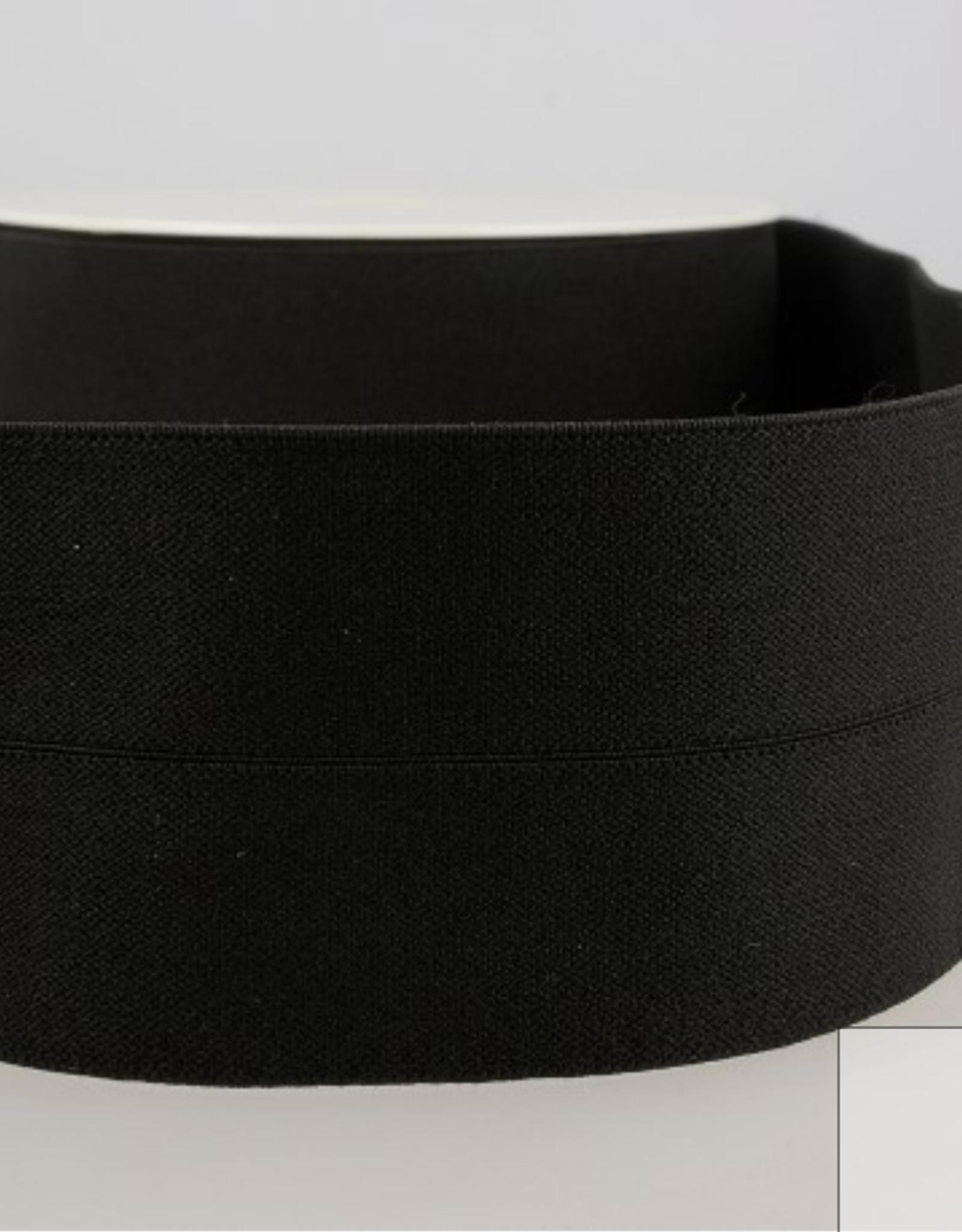 Elastiek 30mm (60mm ) - Voorgevouwen - Zwart
