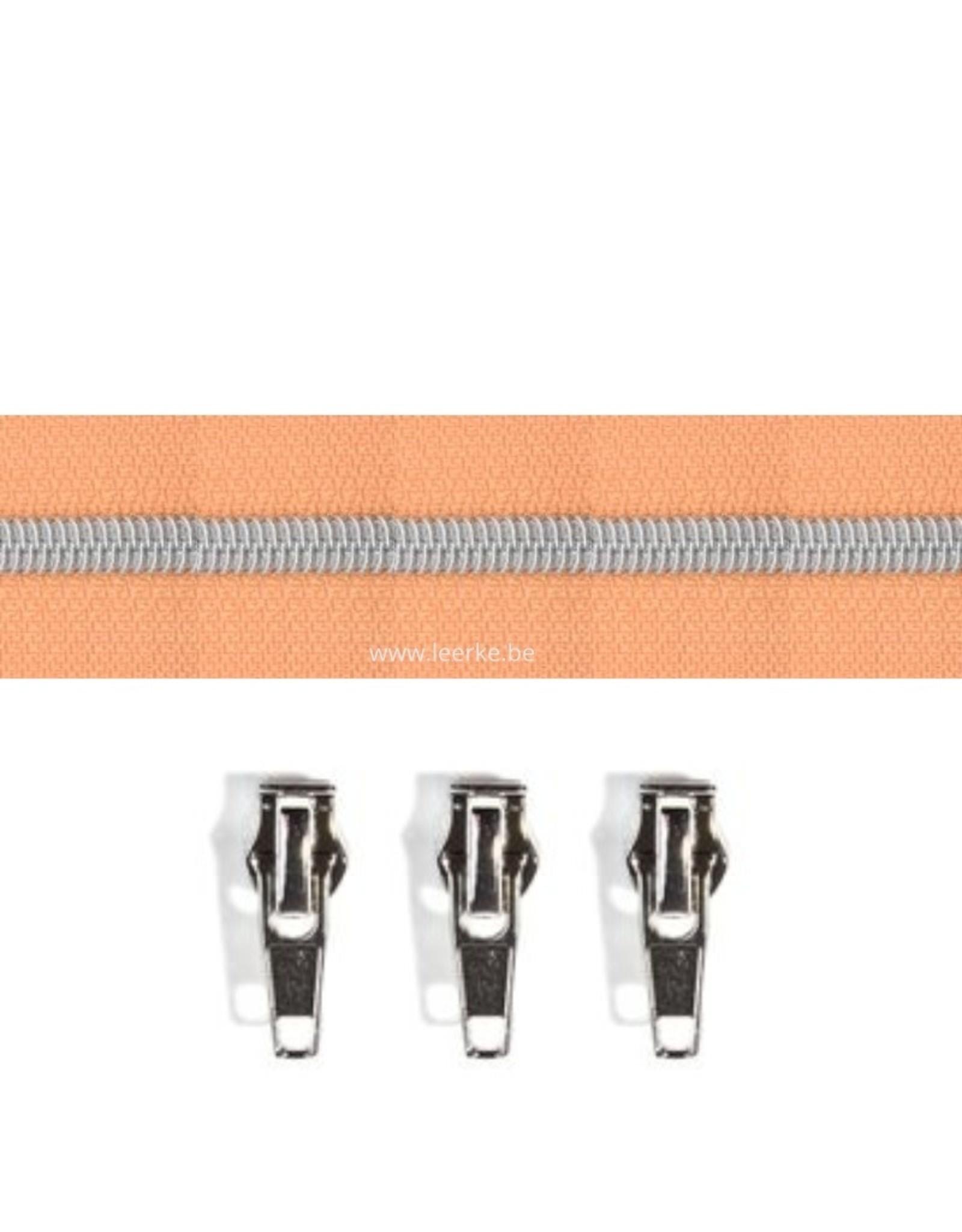Rits per meter (incl. 3 trekkers) - Zilver- Abrikoos- Size 6,5