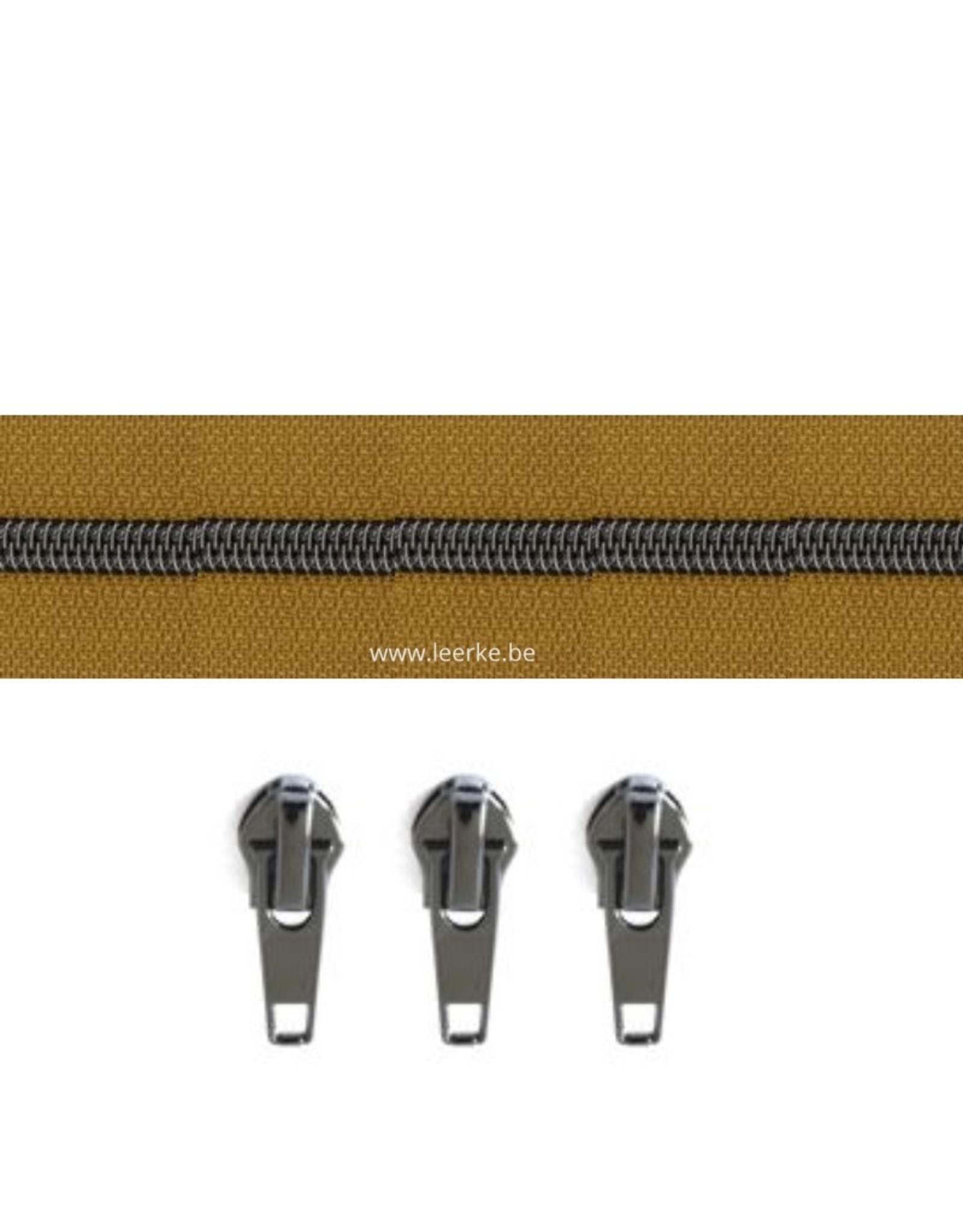 Rits per meter (incl. 3 trekkers) - Gunmetal - Curry- Size 6,5