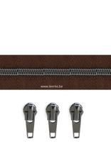 Rits per meter (incl. 3 trekkers) - Gunmetal - Donkerbruin- Size 6,5