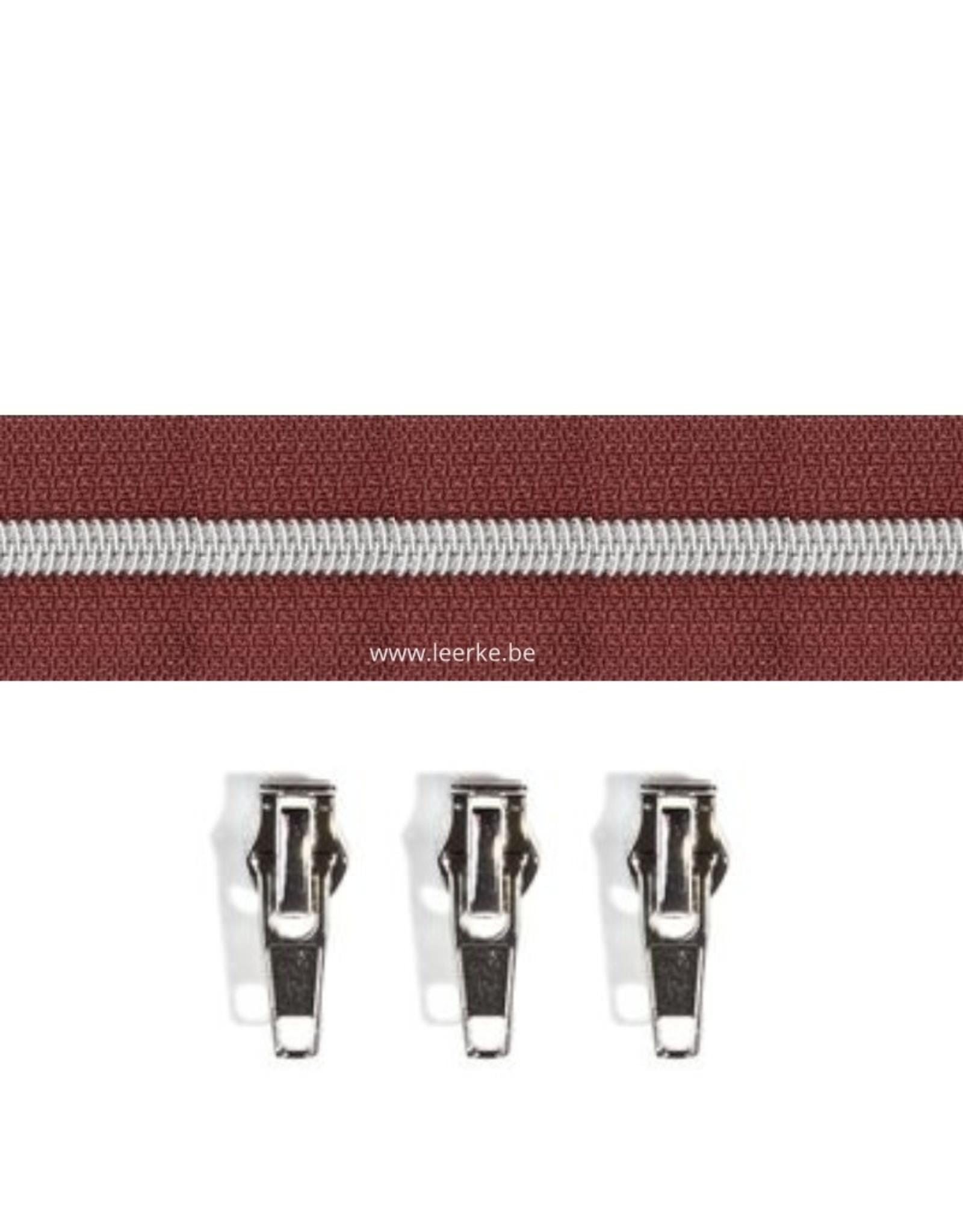 Rits per meter (incl. 3 trekkers) - Zilver- Chocoladebruin- Size 6,5