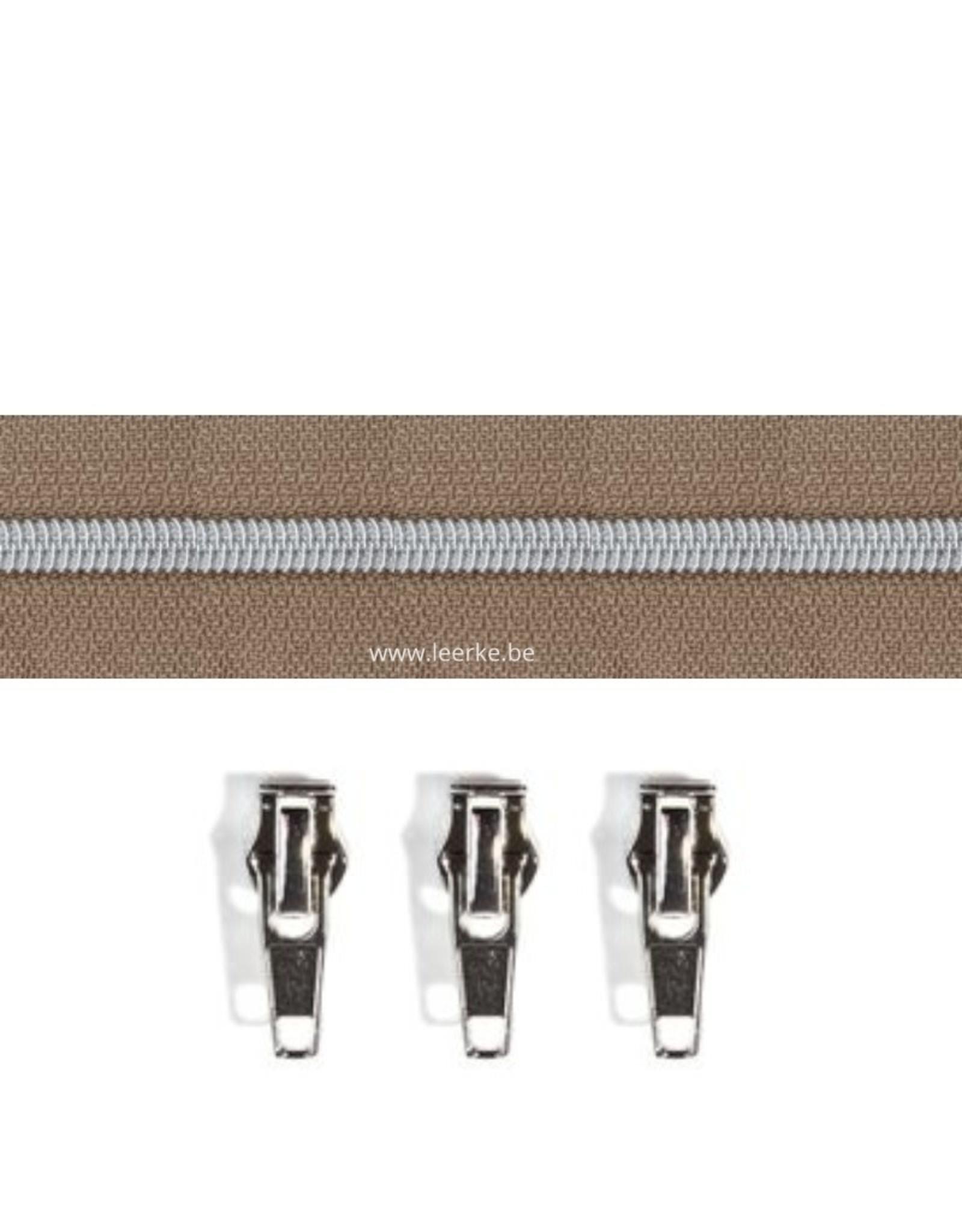 Rits per meter (incl. 3 trekkers) - Gunmetal - Zachtbruin- Size 6,5