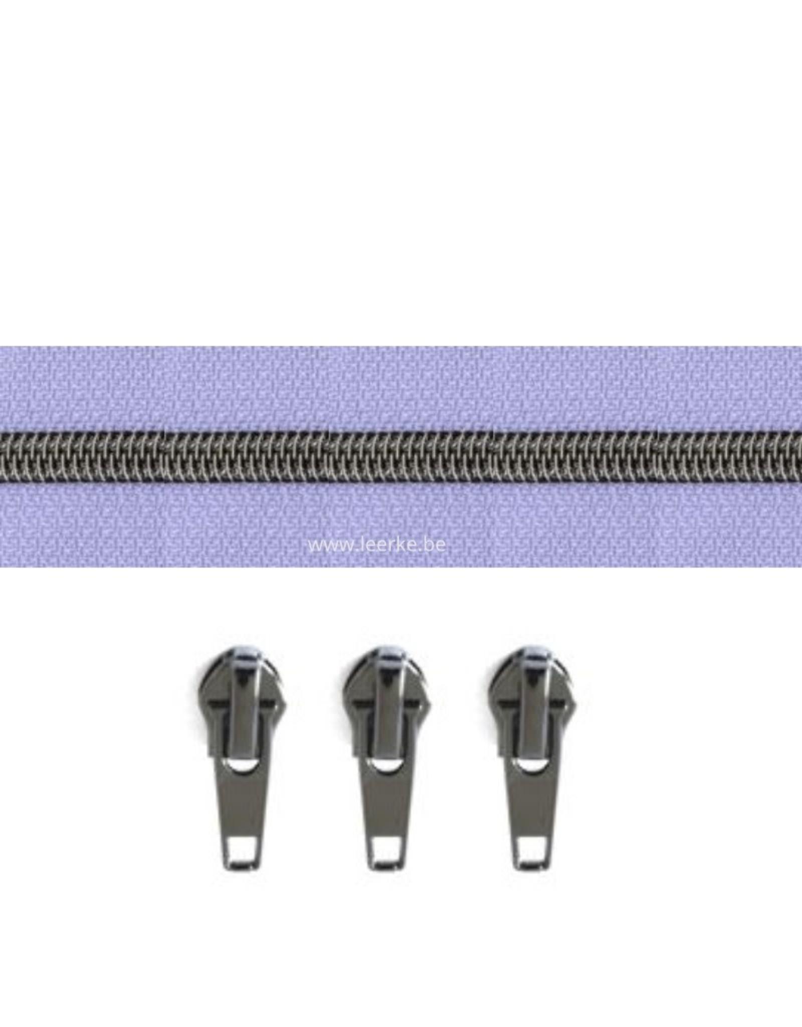 Rits per meter (incl. 3 trekkers) - Gunmetal - Lila - Size 6,5