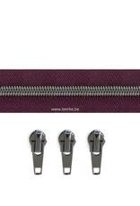 Rits per meter (incl. 3 trekkers) - Gunmetal - Paars- Size 6,5