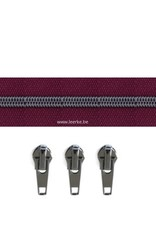 Rits per meter (incl. 3 trekkers) - Gunmetal - Framboos - Size 6,5