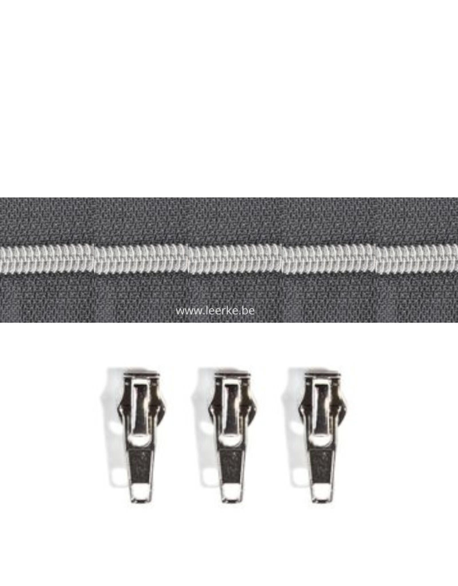 Rits per meter (incl. 3 trekkers) - Zilver- Antraciet - Size 6,5