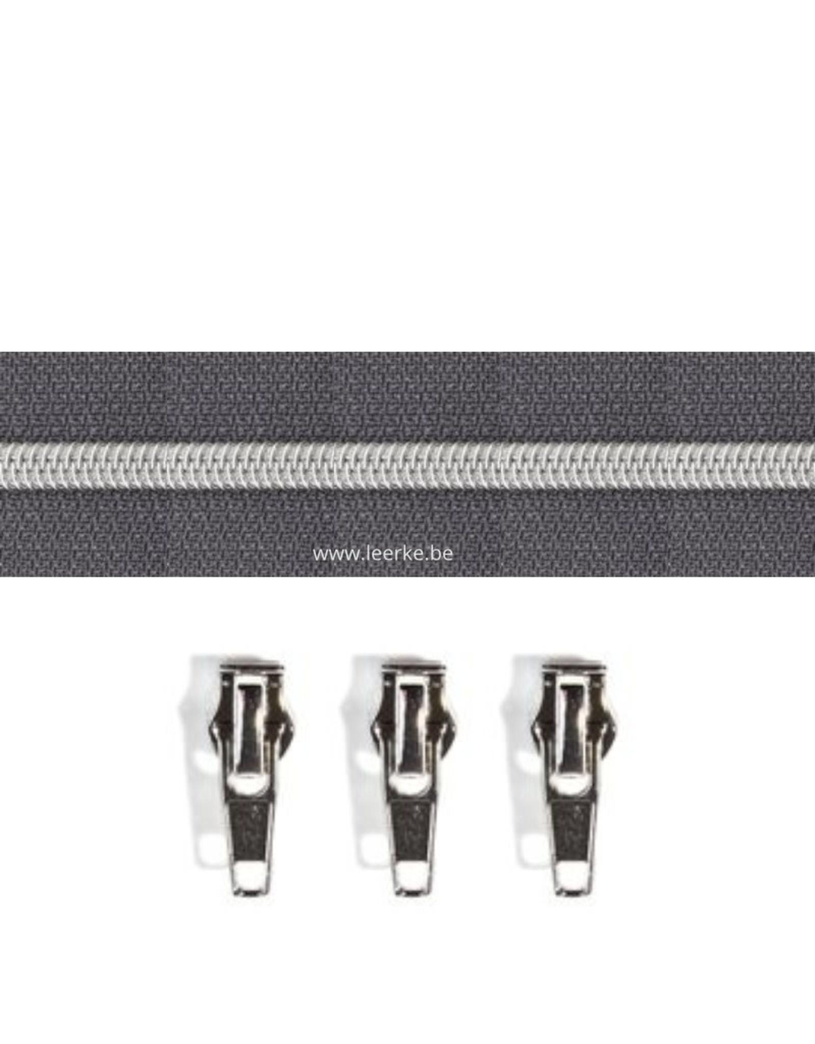 Rits per meter (incl. 3 trekkers) - Zilver- Donkergrijs - Size 6,5