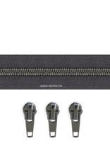 Rits per meter (incl. 3 trekkers) - Gunmetal - Donergrijs - Size 6,5