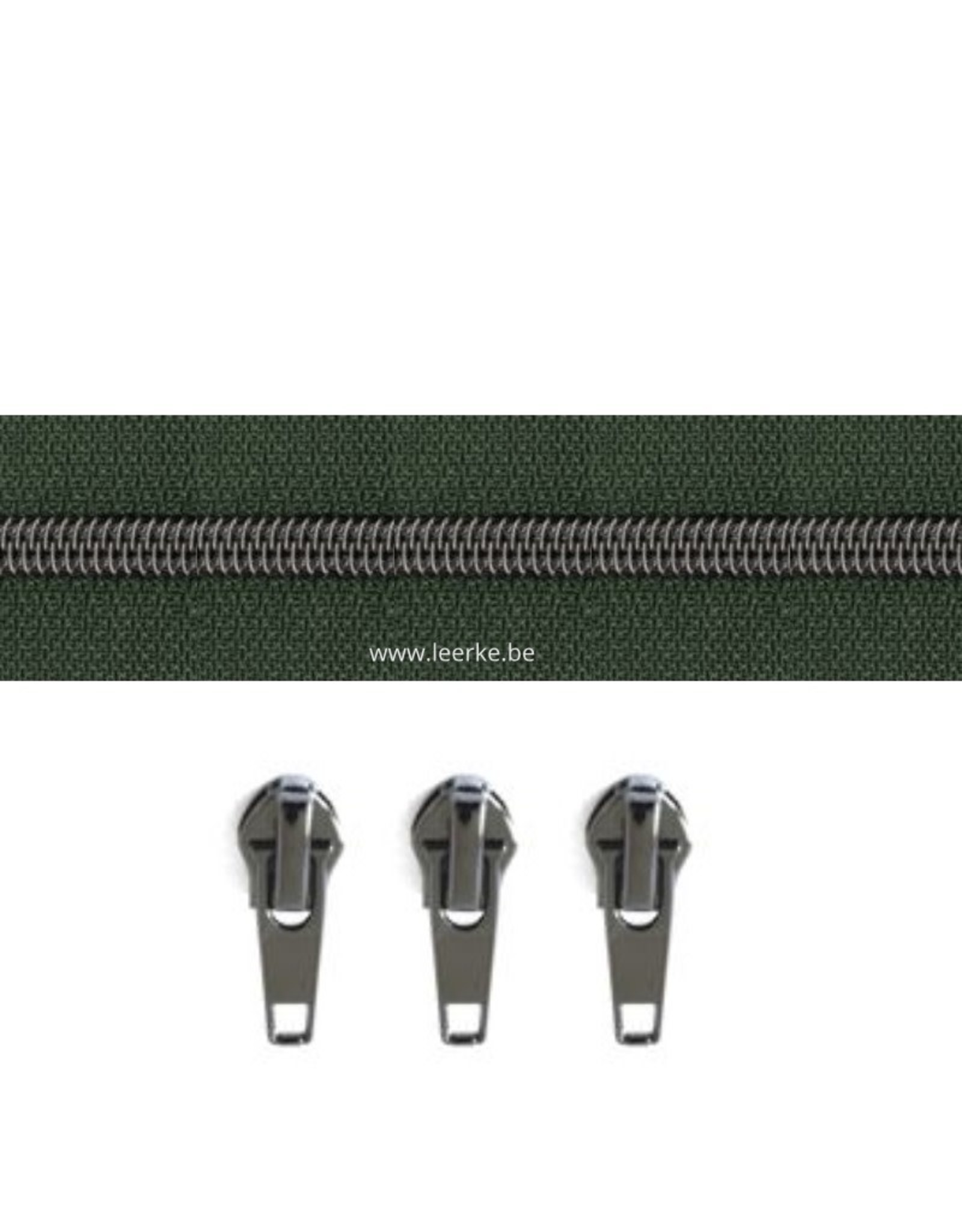 Rits per meter (incl. 3 trekkers) - Gunmetal - Donkergroen - Size 6,5