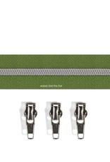 Rits per meter (incl. 3 trekkers) - Zilver- Olijf - Size 6,5