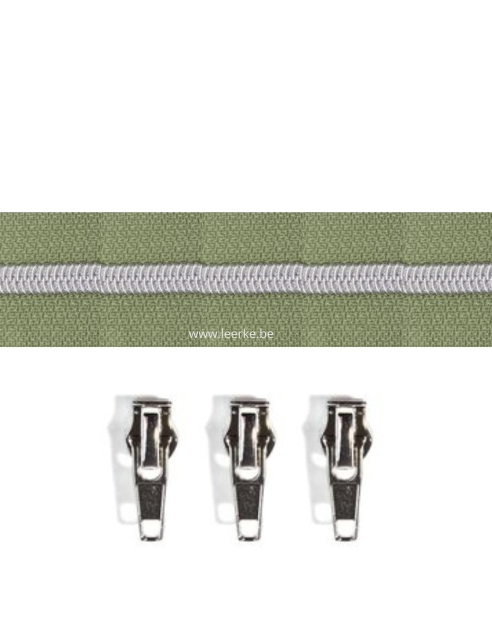 Rits per meter (incl. 3 trekkers) - Zilver- Legergroen - Size 6,5