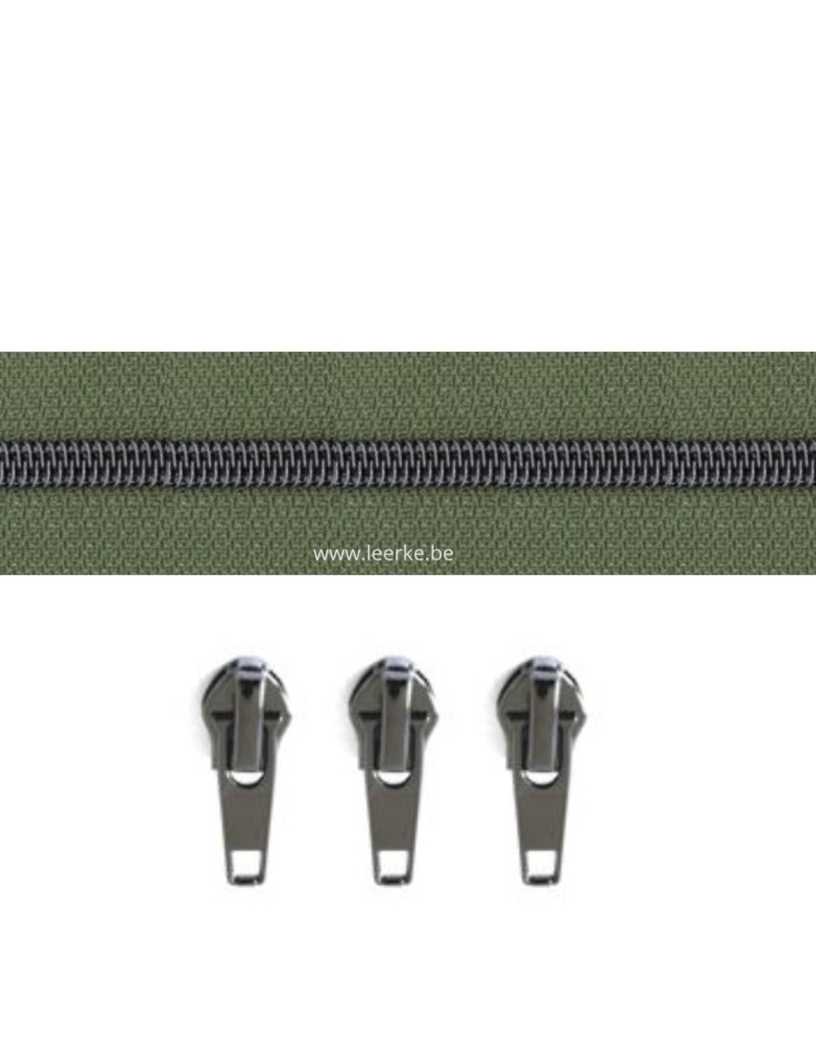 Rits per meter (incl. 3 trekkers) - Gunmetal - Legergroen - Size 6,5