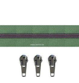 Rits per meter (incl. 3 trekkers) - Gunmetal - Saliegroen- Size 6,5
