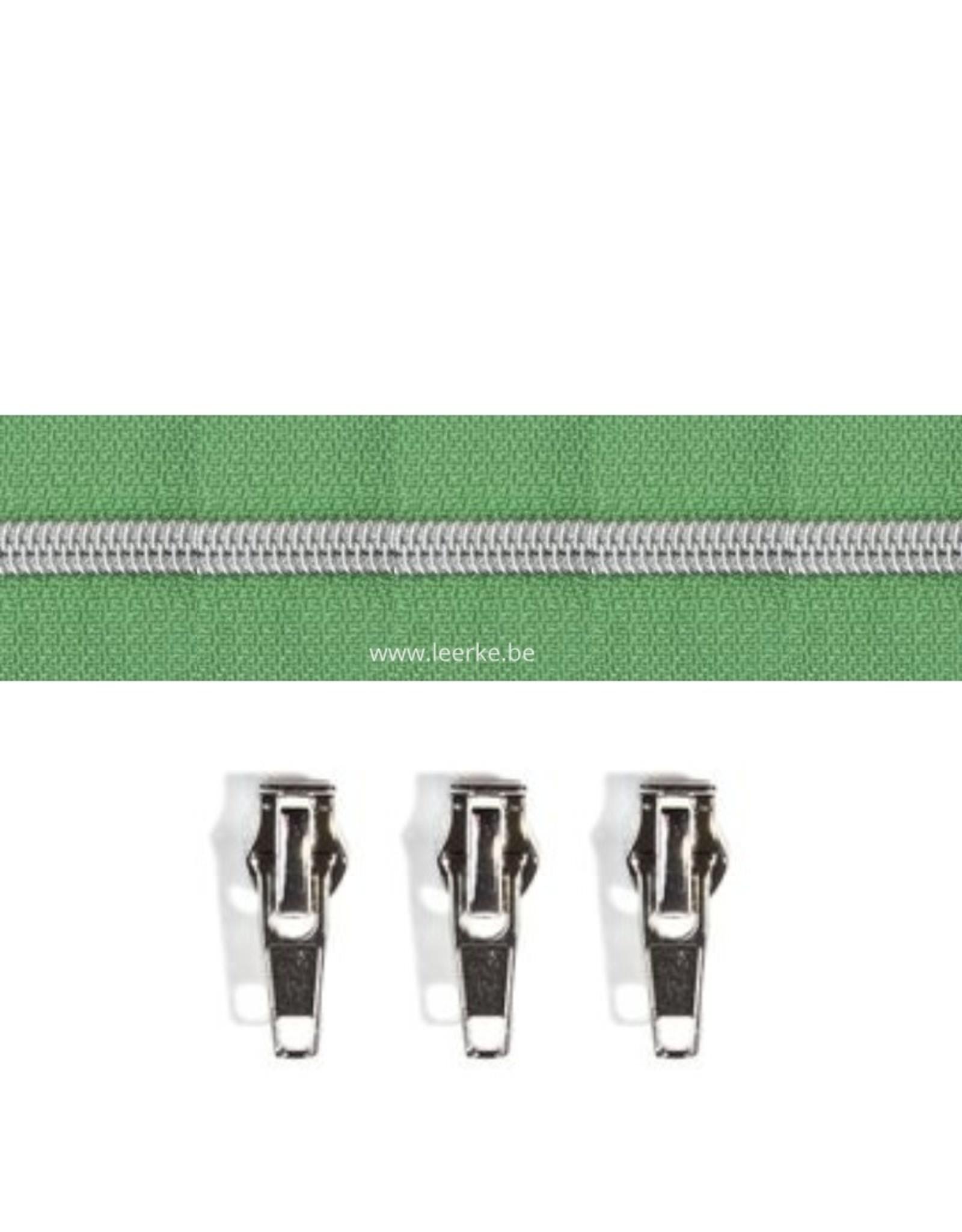 Rits per meter (incl. 3 trekkers) - Zilver- Saliegroen - Size 6,5