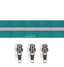 Rits per meter (incl. 3 trekkers) - Zilver- Donker Turquoise- Size 6,5