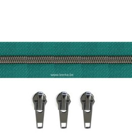 Rits per meter (incl. 3 trekkers) - Gunmetal - Donker Turquoise - Size 6,5