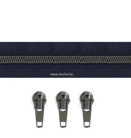 Rits per meter (incl. 3 trekkers) - Gunmetal - Marineblauw - Size 6,5