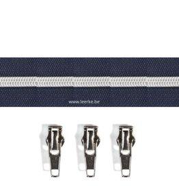 Rits per meter (incl. 3 trekkers) - Zilver- Marineblauw - Size 6,5