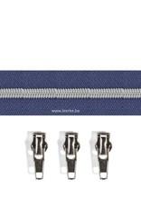 Rits per meter (incl. 3 trekkers) - Zilver- Kobalt - Size 6,5