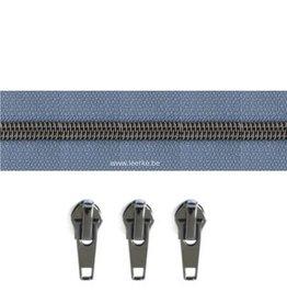 Rits per meter (incl. 3 trekkers) - Gunmetal - Papaver - Size 6,5