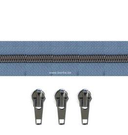 Rits per meter (incl. 3 trekkers) - Gunmetal - Oudblauw - Size 6,5
