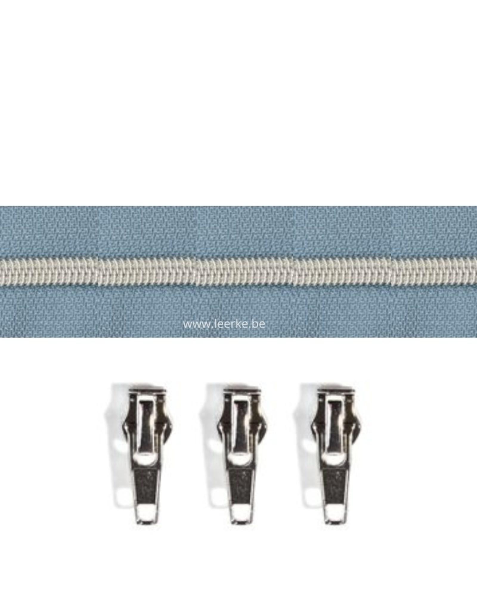 Rits per meter (incl. 3 trekkers) - Zilver- Oudblauw - Size 6,5