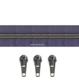 Rits per meter (incl. 3 trekkers) - Gunmetal - Blauw - Size 6,5