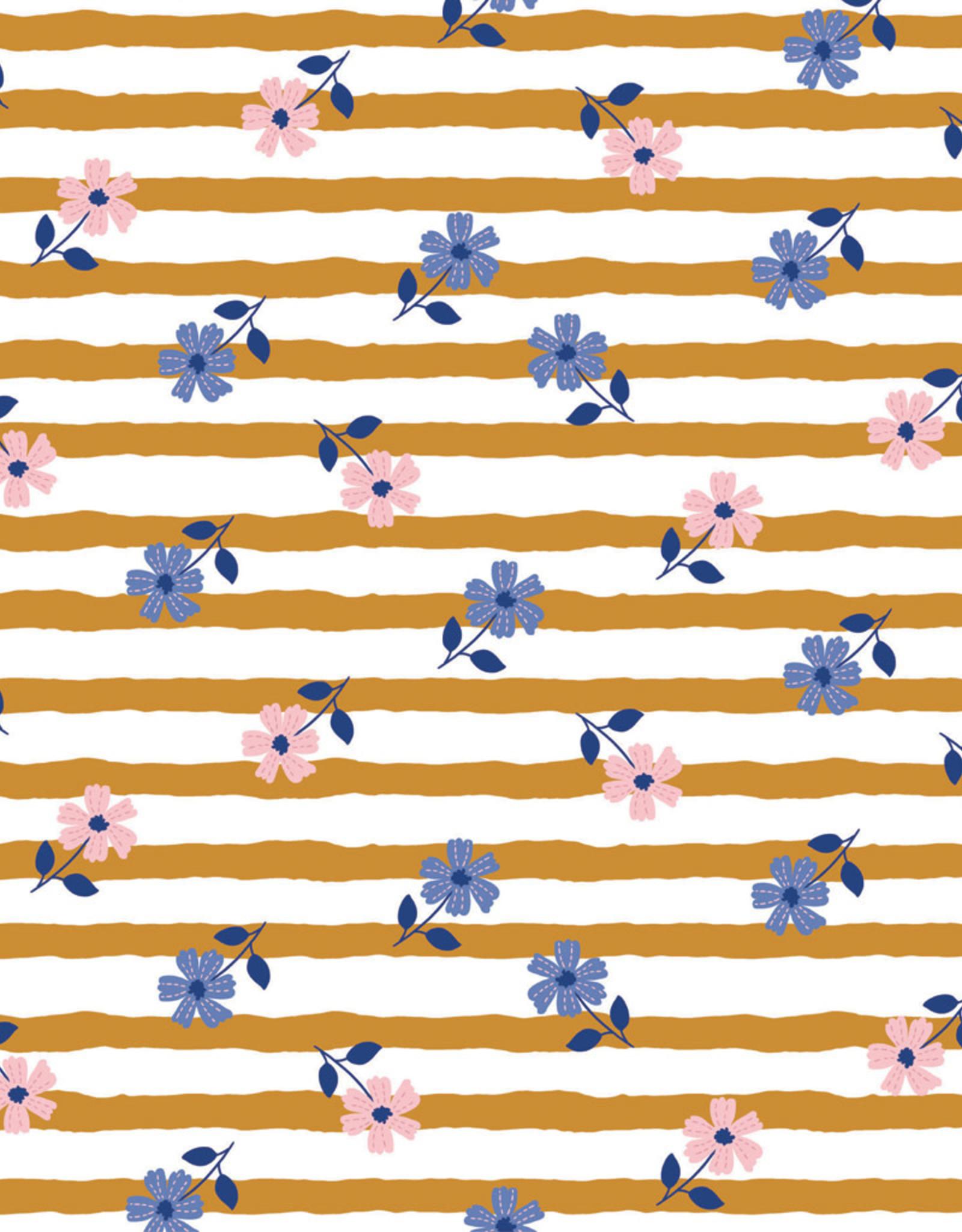 French Terry - Flowery Stripes Ochre