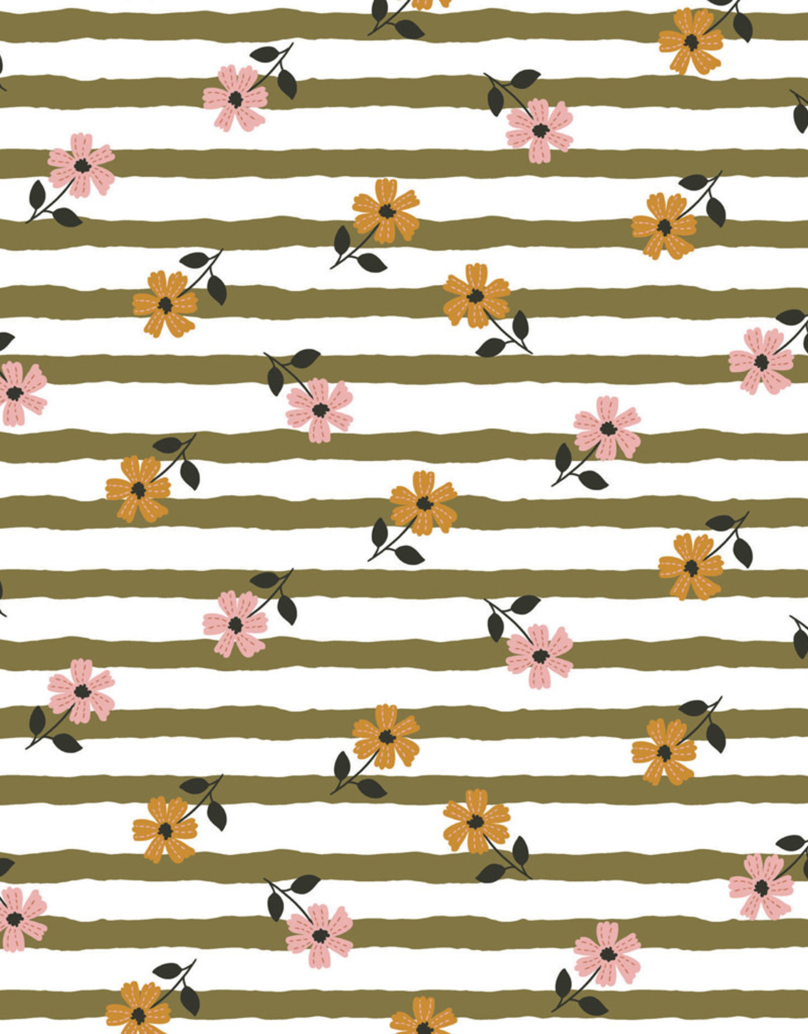 French Terry - Flowery Stripes Green