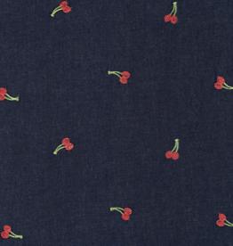 Katoen Broderie - Jeanslook Navy Kersjes