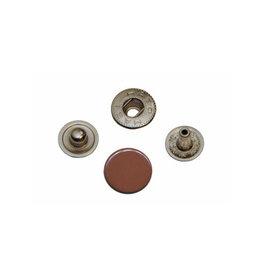 Metalen drukker 12mm - 25 stuks - Bruin