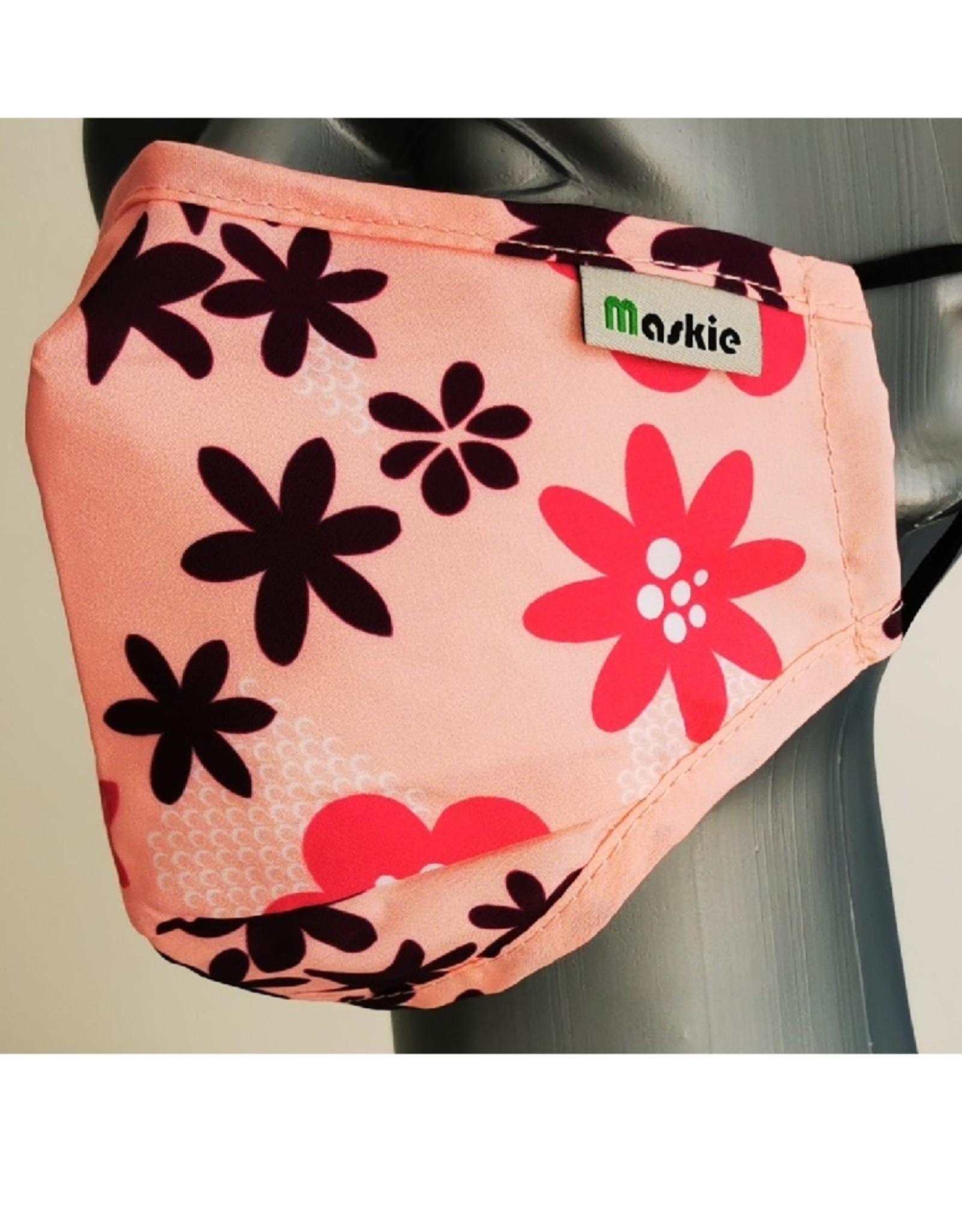 Maskie mondkapje: Roze met Bloemen