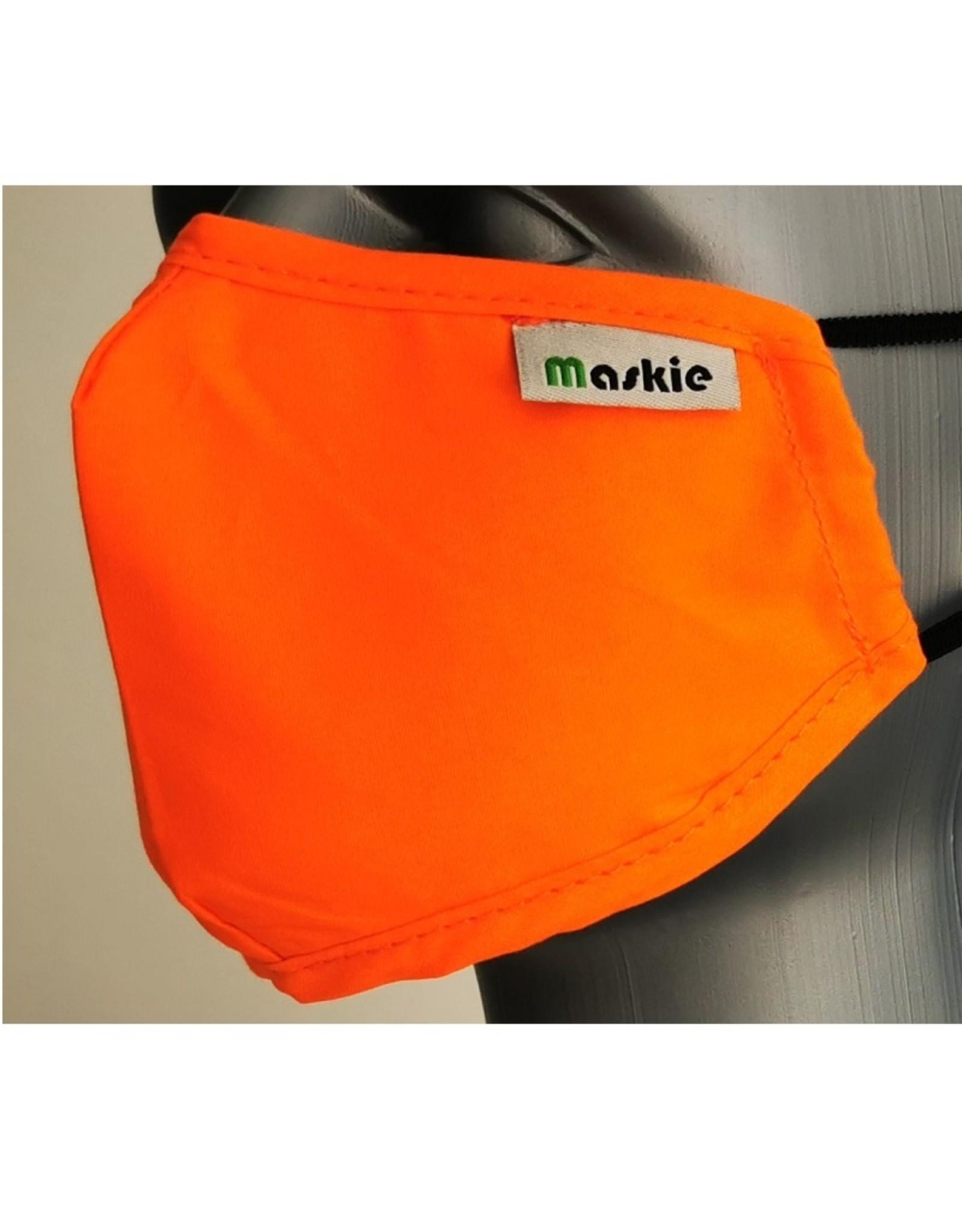 Maskie mondkapje: Effen oranje voor kinderen.