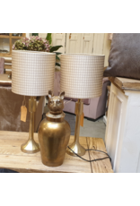 Atelier De Brocante Opkamer B.V. Tafellampje gold incl. Pied de poule lampenkap