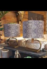 Atelier De Brocante Opkamer B.V. Tafellamp ovaal gold incl. luxe velvet taupe snake kap