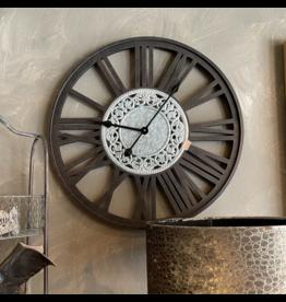 Atelier De Brocante Opkamer B.V. Klok zwart hout 60 cm doorsnede