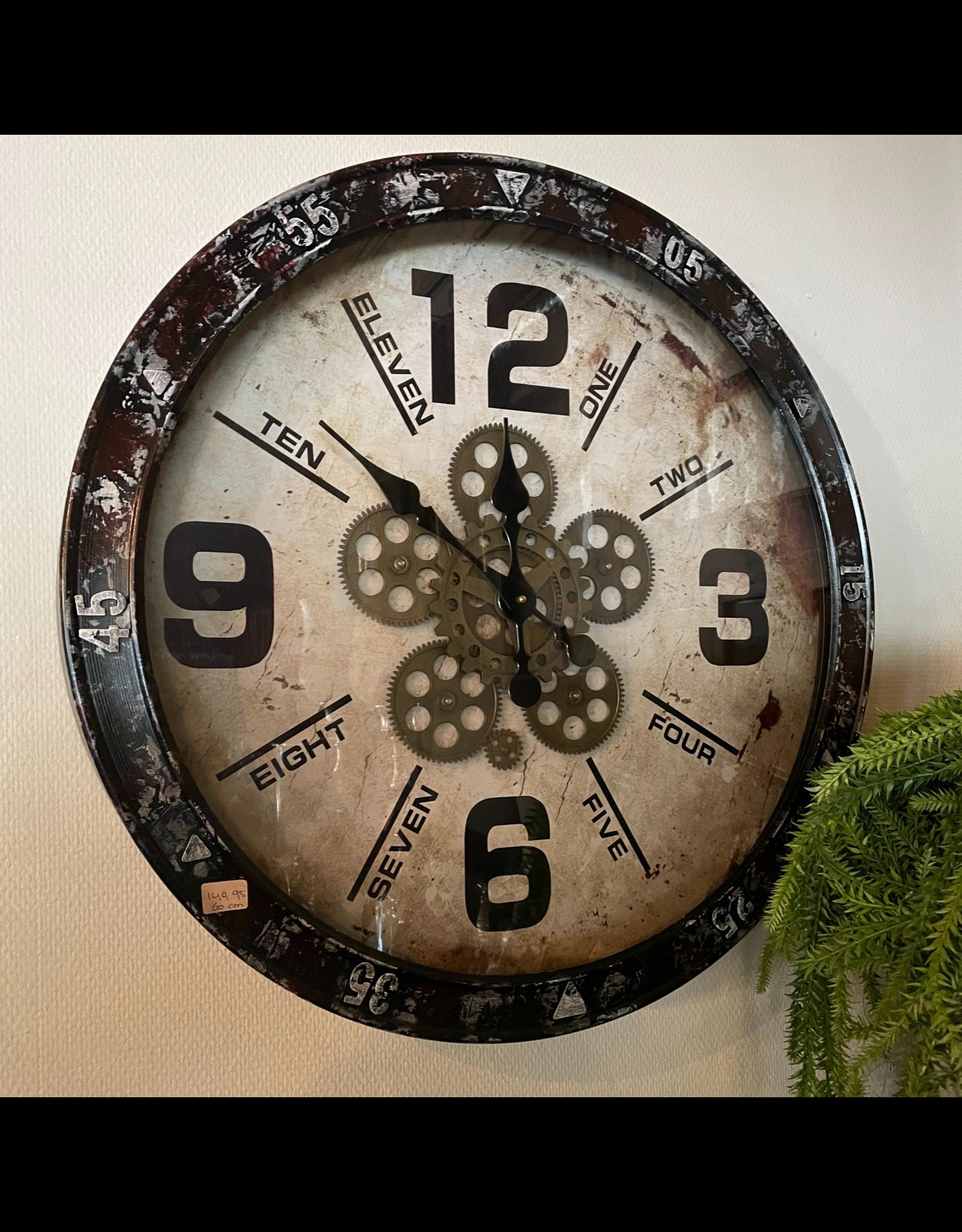 Atelier De Brocante Opkamer B.V. Stoere klok met draaiend uurwerk 60 cm doorsnede