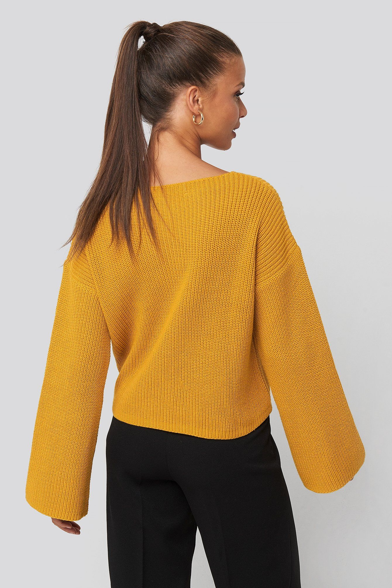 NA-KD NA-KD Cropped Long Sleeve Knitted Sweater