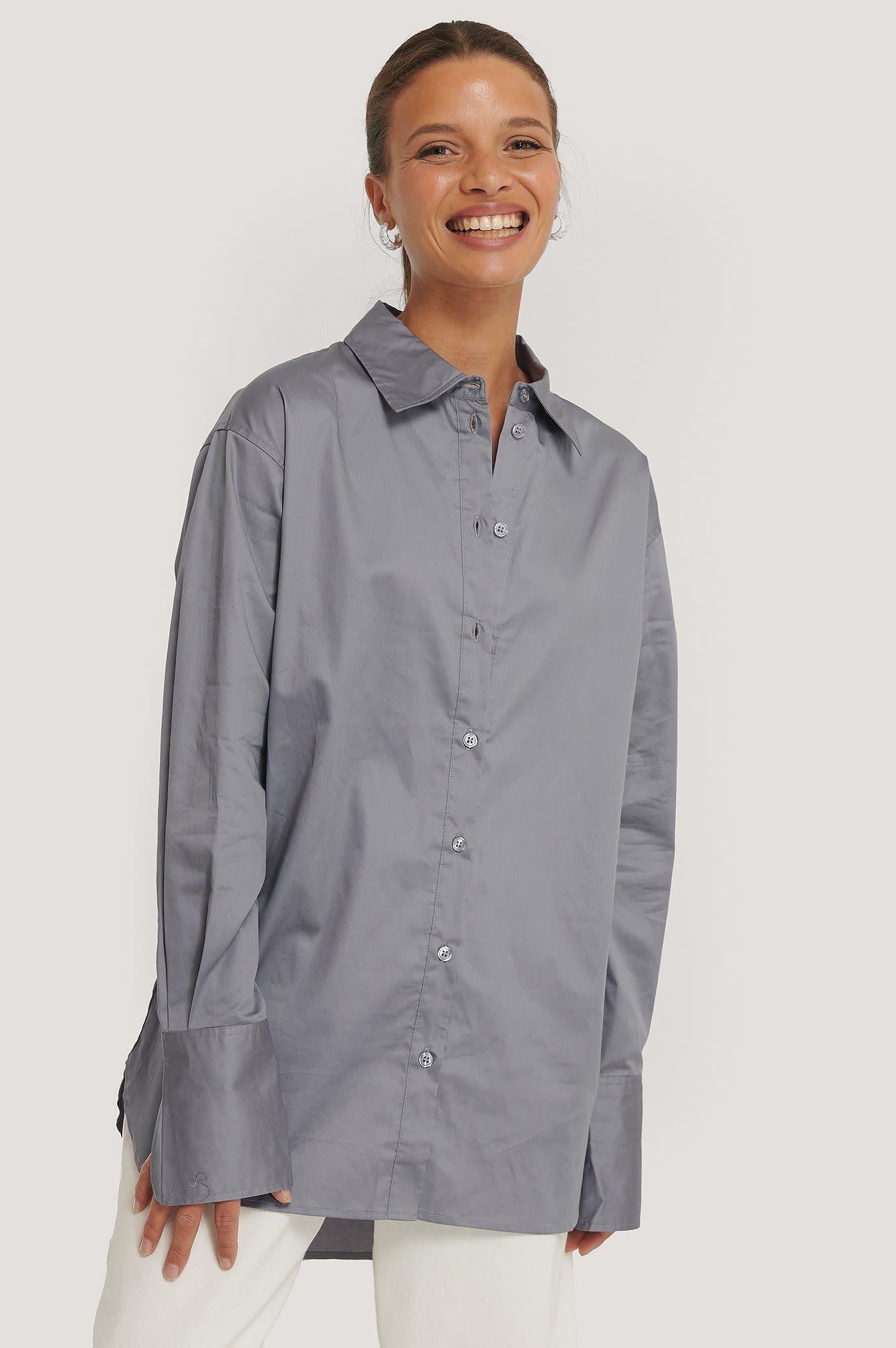 NA-KD NA-KD Oversized Shirt Grey